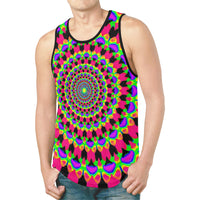 Neon Kaleidoscope Mandala Relaxed Fit Men's Tank Top | EDM Festival Fashion | BigTexFunkadelic