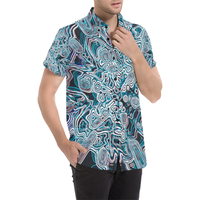Psychedelic Arctic Abstract Pattern Button Down Short Sleeve Shirt | BigTexFunkadelic
