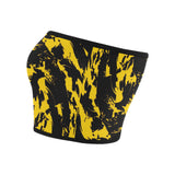 Black and Yellow Paint Splatter Bandeau Top