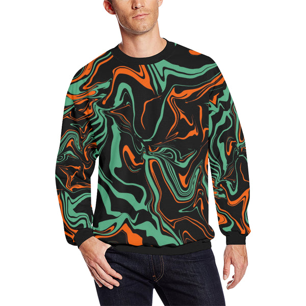Orange, Black and Jade Green Psychedelic Camo Men's Big & Tall Oversized Fleece Crewneck Sweatshirt | BigTexFunkadelic