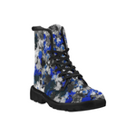 Blue and Grey Paint Splatter Men's Black Martin Boots | BigTexFunkadelic