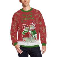 Red Snowman Oversized Fleece Crewneck Christmas Sweatshirt | BigTexFunkadelic