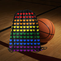 Gay Pride Hearts Drawstring Bag