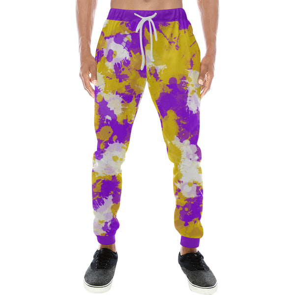 Purple Gold and White Paint Splatter Men's Big & Tall All Over Print Jogger Sweatpants | BigTexFunkadelic