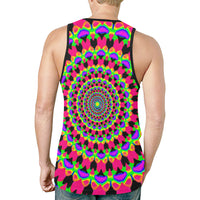 Neon Kaleidoscope Mandala Relaxed Fit Men's Tank Top