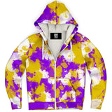 Purple Gold and White Paint Splatter Sherpa Hoodie | BigTexFunkadelic
