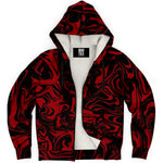 Crimson Red and Black Abstract Melt Sherpa Hoodie | BigTexFunkadelic