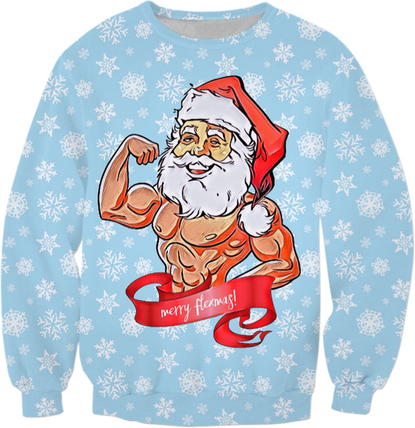 Merry Flexmas Christmas Sweatshirt - Body Builder Santa | BigTexFunkadelic