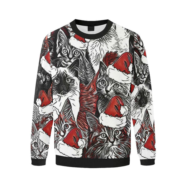 Christmas Cats Oversized Fleece Crewneck Sweatshirt | BigTexFunkadelic