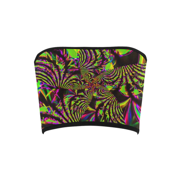 Green and Pink Slime Fractal Bandeau Top | BigTexFunkadelic