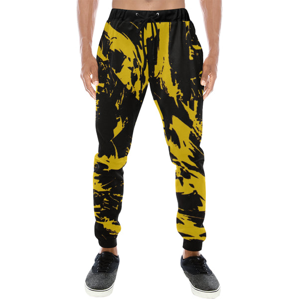Black and Yellow Paint Splatter Men's Big & Tall All Over Print Jogger Sweatpants | BigTexFunkadelic
