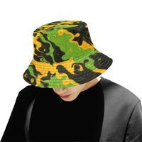 Green and Orange Rave Camo Bucket Hat | BigTexFunkadelic