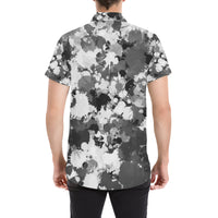 Black and White Paint Splatter Short Sleeve Button Up Shirt