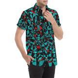 Geo Print Short Sleeve All Over Print Button Down Shirt | BigTexFunkadelic