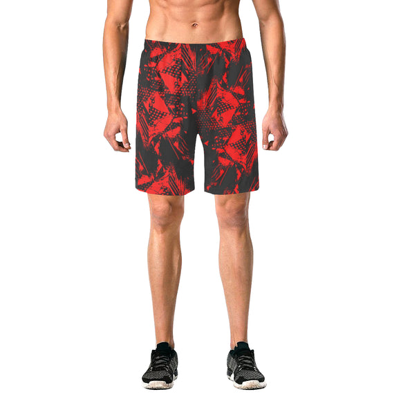 Red and Black Abstract Casual Shorts | BigTexFunkadelic