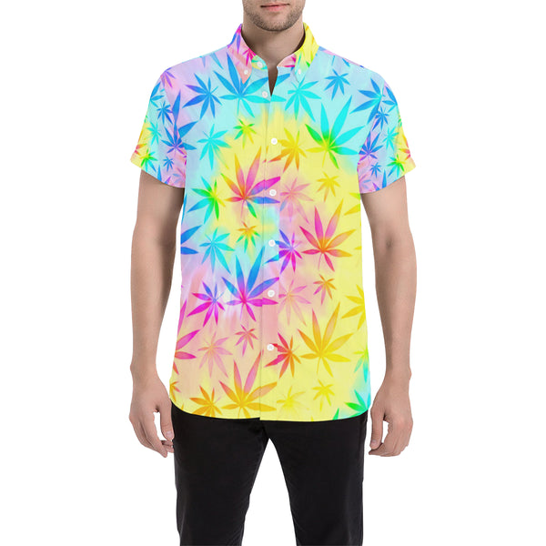 Rainbow Tie-Dye Weed Leaf Print Short Sleeve Button Up Shirt | BigTexFunkadelic