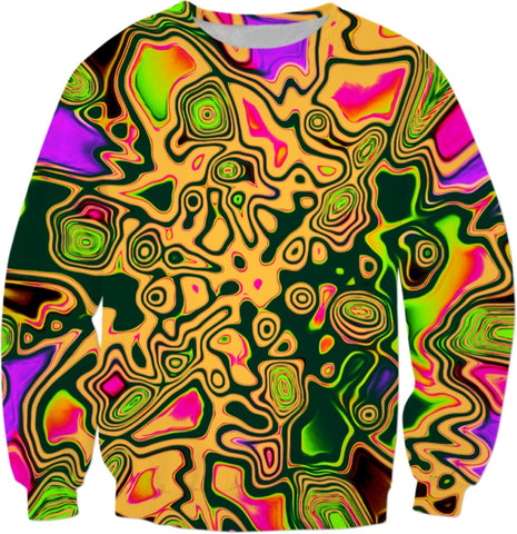 Orange 90s Color Splash Psychedelic Sweatshirt | BigTexFunkadelic