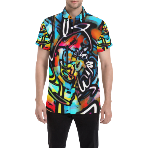Streetart Chaos Graffiti Button Down Short Sleeve Shirt | BigTexFunkadelic