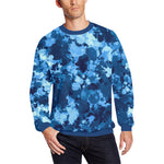 Blue Paint Splatter Men's Big & Tall Oversized Fleece Crewneck Sweatshirt | BigTexFunkadelic
