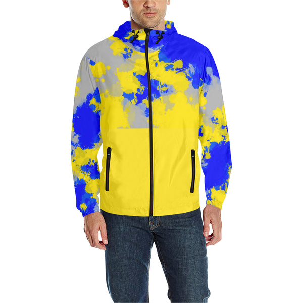 Blue and Yellow Paint Splatter Quilted Windbreaker | BigTexFunkadelic