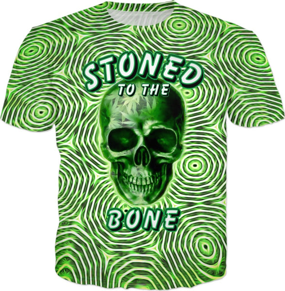 Stoned To The Bone Psychedelic Weed T-Shirt By BigTexFunkadelic.