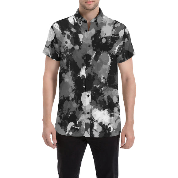 Black White and Grey Paint Splatter Men's Big & Tall Short Sleeve Button Up Shirt | BigTexFunkadelic