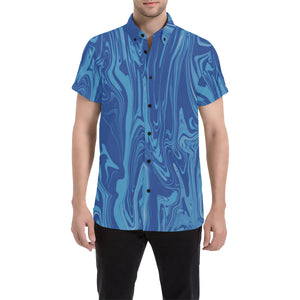 Blue Wood Grain Spill Men's Big & Tall Short Sleeve Button Up Shirt | BigTexFunkadelic