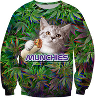 Burrito Cat Munchies Sweatshirt For Stoners - BigTexFunkadelic