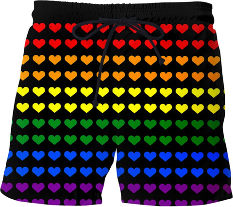 Gay Pride Rainbow Heart Swim Shorts - BigTexFunkadelic