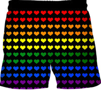 Gay Pride Heart Swim Shorts