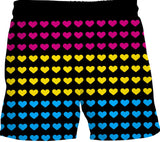 Pansexual Pride Hearts Swim Shorts