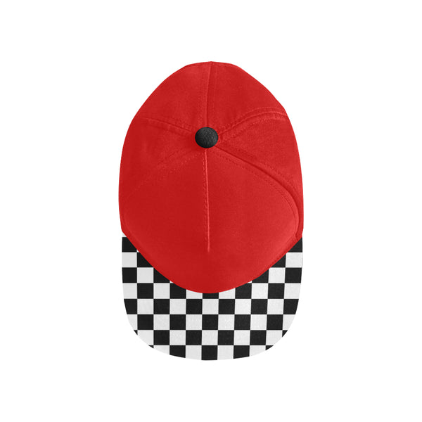 Checkered Brim Snapback | Flat Brim Hats | Red | BigTexFunkadelic