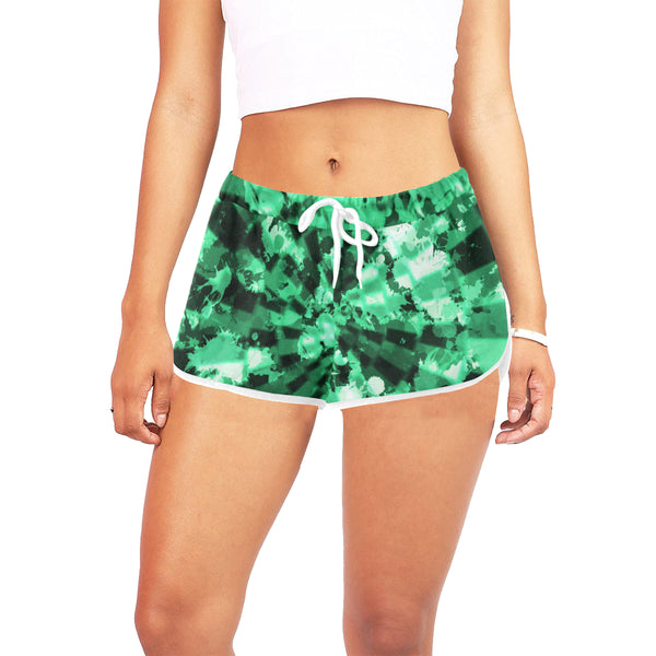 Green Tie-Dye Women's Shorts