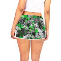 Green and Grey Paint Splatter Women's Shorts