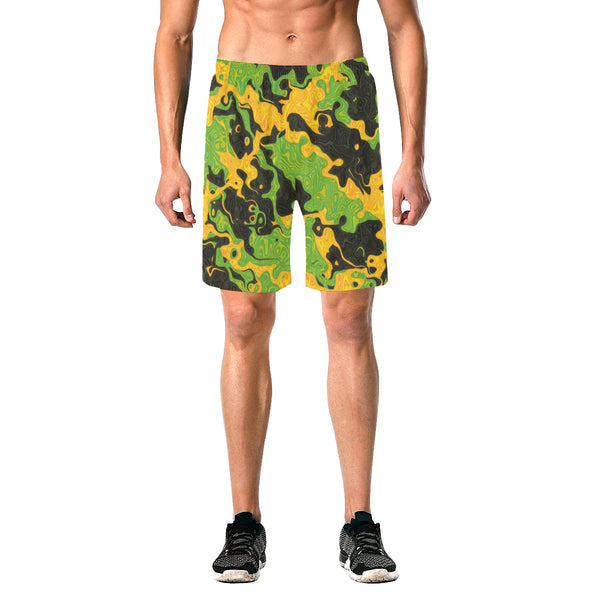 Green and Orange Rave Camo Casual Shorts | BigTexFunkadelic