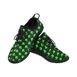 Green Alien Head Women's Breathable Woven Running Shoes | BigTexFunkadelic