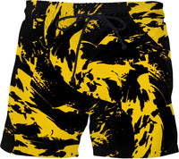 Black and Yellow Paint Splatter Swim Shorts | BigTexFunkadelic