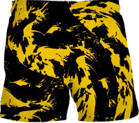 Black and Yellow Paint Splatter Swim Shorts