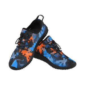 Blue and Orange Paint Splatter Abstract Men's Breathable Woven Running Shoes | BigTexFunkadelic