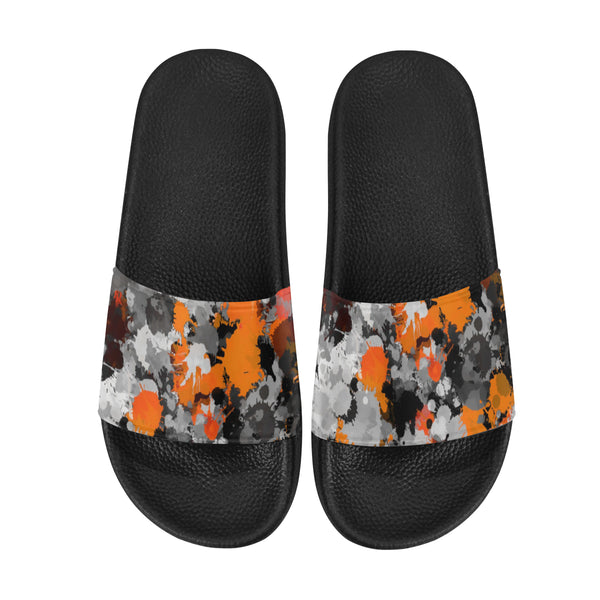 Orange and Grey Men's Slide Sandals | BigTexFunkadelic