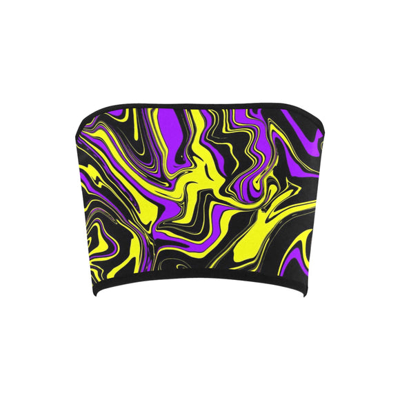 Purple Yellow and Black Psychedelic Melt Bandeau Top | BigTexFunkadelic