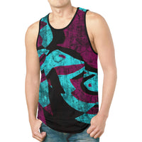 Purple and Teal Abstract Relaxed Fit Men's Tank Top | BigTexFunkadelic