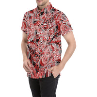 Red Psychedelic Short Sleeve Button Up | BigTexFunkadelic