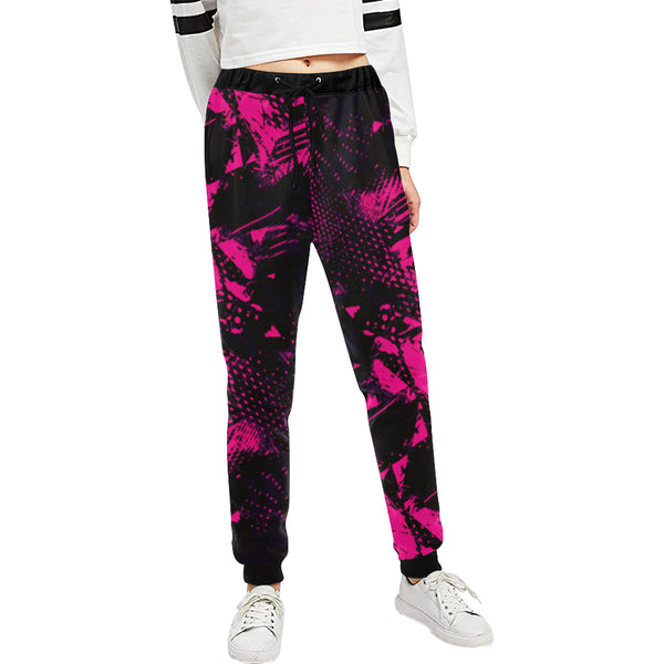 Pink and Black Abstract Women's All Over Print Jogger Sweatpants | BigTexFunkadelic