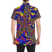 Sunburst Slime Fractal Button Down Short Sleeve Shirt | BigTexFunkadelic