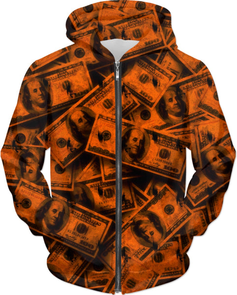 Orange Grunge Money Hoodie | BigTexFunkadelic