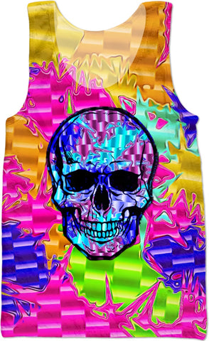 Color Pop Chrome Skull Tank Top | BigTexFunkadelic