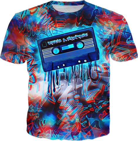 Life's A Mixtape Trippy Red and Blue All Over Print Graffiti T-Shirt | BigTexFunkadelic