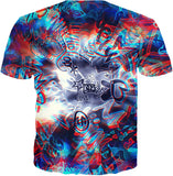 Life's A Mixtape Trippy Red and Blue All Over Print Graffiti T-Shirt