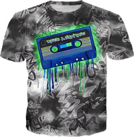 Life's A Mixtape Black and White All Over Print Graffiti T-Shirt | BigTexFunkadelic